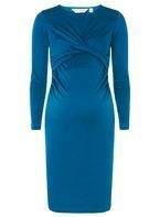 Womens **Maternity Twist Front Bodycon Dress- Blue