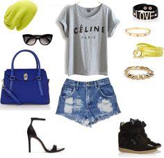 La Vie Coloree blog. [sporty]Fashionista cut offs. Neon. Cobalt blue. Isabel Marant. Wedge snickers. Ankle strap sandal. Love bracelet. Cartier. Celine.