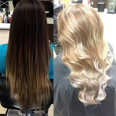 Cassandra Hernandez (@cassssaaandraaa) of Sunshine Hair Designs, Port Hueneme, California acknowledges that Instagram has helped her build her clientele, and we aren't surprised with transformations like this one that we found on her page. MODERN tracked her down to get the HOW TO: Step 1: ApplyWellaBlondor bleach with 40 volume developer (blended with Olaplex #1) in a balayage technique going as close to the root as possible. Separate with foils. Process for 30 minutes.
