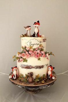 Smash Cake Girl, Girl Cakes, Bolo Nacked, Woodland Theme Cake, Christening Cake Girls, Little Girl Birthday Cakes, Torta Baby Shower, Girl Baby Shower Decorations, Cute Cakes