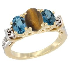 14K Yellow Gold Natural Tiger Eye and London Blue Ring 3-Stone Oval Diamond Accent >>> Wow! I love this. Check it out now! : Jewelry Ring Bands