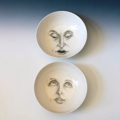 Moon Bowls of Father and child, Ceramic Wall Hanging, Set of Two Bowls, Porcelain Pottery by tjCervantesArt on Etsy https://www.etsy.com/listing/239777466/moon-bowls-of-father-and-child-ceramic