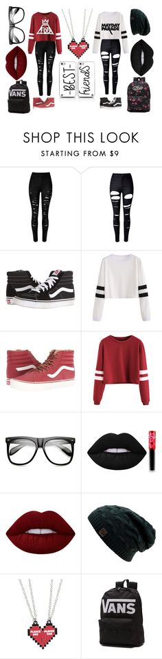 """BestFrann And I Twinning For School"" by the-0ne-and-0nly on Polyvore featuring WithChic, Vans, ZeroUV and Lime Crime"