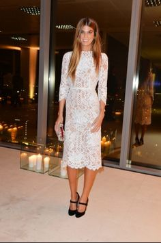 Bianca Brandolini #whitedress #lace