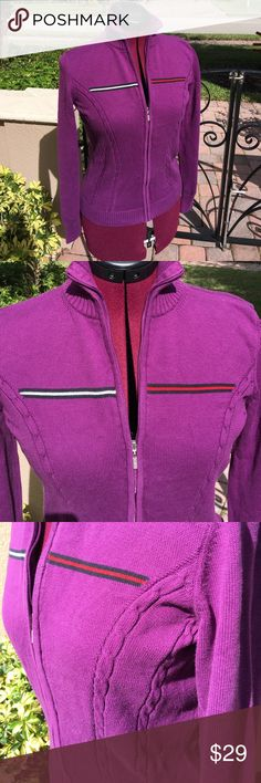 "TOMMY HILFIGER Purple Logo Sweater - Sz Small TOMMY HILFIGER Purple Logo Full ZIP Sweater - Sz Small. Length = 22.25"". Under arm to under arm = 17"". Ships from a smoke free home :-) Tommy Hilfiger Sweaters"