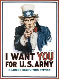 """I WANT YOU FOR U.S. ARMY!""  WWII Recruitment Poster. ""Uncle Sam""."
