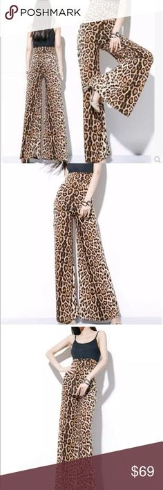 Wide leg bell bottom leopard flared pants sheer Sexy flirty Festival parade party costume edc concert music dance rave club dance beach boho indie rocker punk rock wear with platform shoes boots vintage sandals gothic oh lollipop Pants Boot Cut & Flare