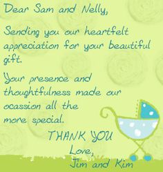 Thank you note wordings for attending a baby shower