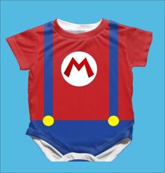 Mario onesie. Perfect for the video gamer's baby. Geek baby.