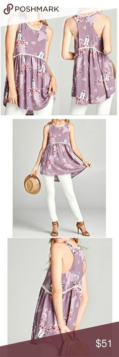 PRE ORDER NWT BABY DOLL TUNIC TOP Sleeveless babydoll tunic top with a smooth racer back, featuring a shadowed floral longhorn print. Scalloped crochet trim streams along the neckline and all around the waistline.  Fabric: Hacci Knit  Content: 96% Polyester, 4% Spandex Tops Tank Tops