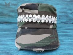 Camo Cadet Hat, Camo Bling Hat, Military Cadet Hat, Lace Hat, Vintage Distressed Hat, Camouflage Bling, Embellished Hat, Army Hat, tammydee