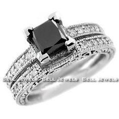 Black Diamond Engagement Rings Princess 27