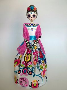 Paper Mache Catrina beehave hair . Day of the Dead by LaCasaRoja