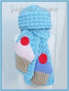 A Cute Cupcake Scarf.                                                        All Free Crochet .Com