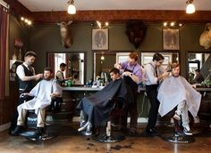 The Modern Man is is a highly rated barbershop with a awesome man type bar on the second floor.