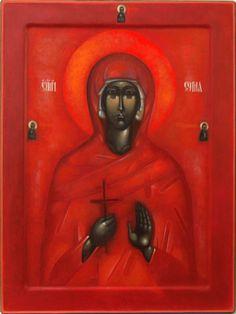 Obraz IKONA Św. Zofia Rzymska (w klejmach Wiara Nadzieja i Miłość) - Artysta Greta Maria Leśko