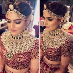 Such beautiful bridal makeup--perfect mix. Not too natural and subtle but not too dramatic Beautiful Bridal Makeup, Indian Bridal Makeup, Natural Wedding Makeup, Indian Wedding Jewelry, Indian Bridal Wear, Indian Wedding Outfits, Bridal Outfits, Indian Outfits, Indian Jewelry