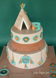 Tee-Pee Cake(: it's so cute I love it(: Fancy Cakes, Cute Cakes, Native American Cake, Indian Birthday Parties, Indian Cake, Indian Party, Tribal Baby Shower, Cakes For Boys, Love Cake
