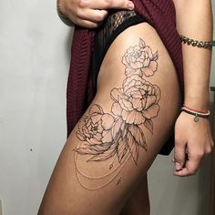 #tattoo #irainkers #linework #dotwork #peony