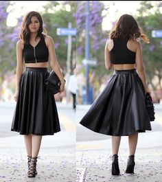 High waisted leather-like skirt