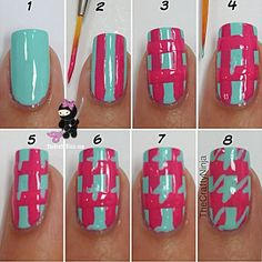 Nails Art - blue and pink houndstooth(ish)