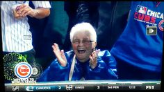 """✊✊ Dorothy Farrell is the 90-year-old season-ticket holder who was beaming with jubilation in a front-row seat. As Farrell put it, """"I just wished wish my brothers were alive to see this ... They loved the Cubs, & my father did too. But they're all dead now. This old lady's still living."""" Fox Sports interviewed Farrell after the Cubs won Game 6 of the NL Championship Series on Saturday night in Chicago. When asked how she would celebrate the win, she said: """"I'll probably have a Jagermeist..."""