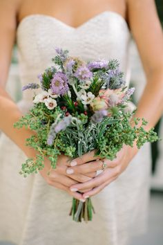 Wild-ish Flower Wedding Bouquet. See this casual elegant wedding on SMP: http://www.StyleMePretty.com/2014/02/17/elegant-sonoma-mission-wedding/ Caroline Frost Photography