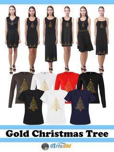 Beautiful, ornate Christmas Tree Fashion - Dresses for a party or casual T-shirts at #Artsadd ~ #Gravityx9