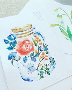 watercolor illust, painting flower  rose , illustration