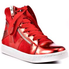 Blink Women's Axlee Metal - Red ($70) ❤ liked on Polyvore featuring shoes, sneakers, sapatos, zapatos, red, flats, rounded toe, comfort, women and casual