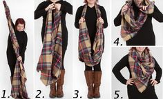 4 Ways to Wear a Blanket Scarf: Look By M Tartan Plaid Scarf from Gliks.com