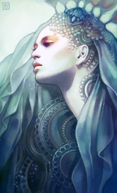 Anna Dittmann is an illustrator who grew up in San Francisco and moved to Georgia to study at the Savannah College of Art and Design who is obessed with drawing fanciful portraits. Illustrator, Art Manga, Art Plastique, Amazing Art, Art Reference, Art Drawings, Drawing Faces, Drawing Hair, Gesture Drawing