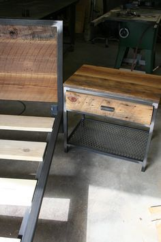 This side table is the Lexi. A steel frame topped with reclaimed barn wood and expanded sheet metal used as the lower shelf. www.metalfred.com