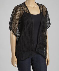 Look what I found on #zulily! Black Loose Knit Open Cardigan - Plus by Poliana Plus #zulilyfinds