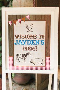 Welcome sign from a Farm Birthday Party on Kara's Party Ideas   KarasPartyIdeas.com (15)