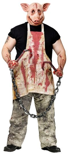 Cast a spell with Men's Pig Butcher Costume. Trendy range of Monsters Costumes for Halloween at CostumePub. Really Scary Halloween Costumes, Halloween Kostüm Horror, Pig Halloween Costume, Pig Costumes, Scary Costumes, Scary Halloween Decorations, Halloween Haunted Houses, Adult Halloween, Adult Costumes