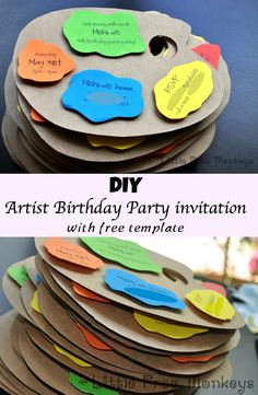 You wont believe how easy it is to make these artist birthday party invitations!