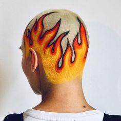 When you create true fire 🔥 Creative Hairstyles, Cool Hairstyles, Shaved Head Designs, Buzzed Hair, Creative Hair Color, Men Hair Color, Bald Hair, Edgy Hair, Hair Tattoos