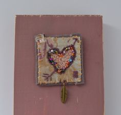 Textile art collage - Beaded heart pin by judithadesigns09 on Etsy