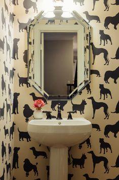 La Dolce Vita Osborne & Little's Best in Show Wallpaper Adds a Dose of Fun in the Powder Room