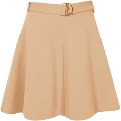 River Island Beige jersey belted skater skirt ($56) ❤ liked on Polyvore featuring skirts, jersey skater skirt, skater skirt, waist belt, beige skirt and high-waist skirt