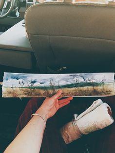 """Roslyn Wollman 'Harvest Sunset' Daniel Smith Watercolours 18 x 4"""""""