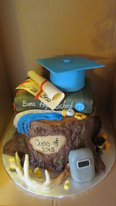 This Was A Graduation Cake For 3 Boys Interested In The Great Outdoors Welding Fishing And Sports Ill Try To Post Pictures Around The