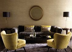 Brown sofa and yellow chairs, Oh I think I need a big mirror. Narrow Living Room, Living Room Grey, Living Room Furniture, Living Room Decor, Brown Couch Decor, Brown Sofa, Mustard Living Rooms, Room Colors, Wall Colours