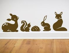Items similar to Fairytale Forest set of animal wall decals fox squirrel deer bunny hedgehog LARGE SIZE on Etsy Forest Creatures, Woodland Creatures, Forest Animals, Woodland Animals, Animal Wall Decals, Wall Decal Sticker, Hedgehog House, Fox Squirrel, Cute Fox