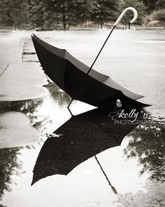 Rainy Day Memories- Black Umbrella Photograph- Water Reflection- Black and White- Still Life Photo- 8x10 Fine art Print (by kellynphotography on Etsy.com)