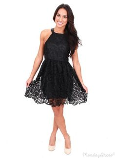 Leather And Lace Black Dress