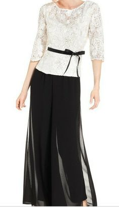 Free shippingElegant three quarter sleeve Black mother of the bride pant suits with lace jacket US $146.00 - 148.00