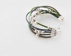 Men's leather bracelet in brown & green by kapelusznik, $24.90 #jewelry #leather