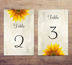 Rustic table numbers sunflower Country wedding by CardsForWedding